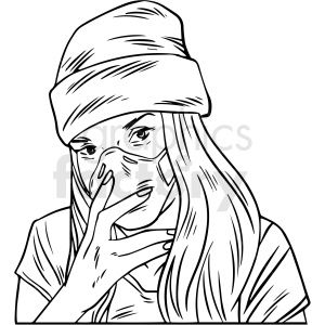 Black And White Female Wearing N95 Face Masks Vector Illustration In 2020 Mask Drawing Illustration Face Mask
