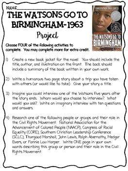 Final Projects Bingo Style Choice The Watsons Go To Birmingham