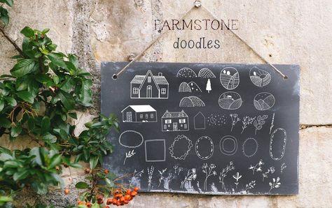 Farmstone Rustic serif font. Doodles