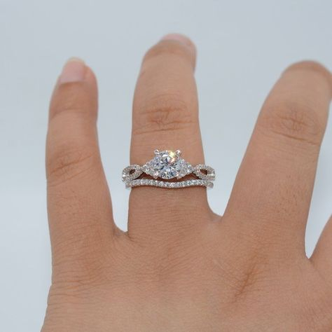 $7.99 - Vintage 1.8Ct Halo Round Cut Aaa Cz White Gold Filled Wedding Ring Set Size 5-10 #ebay #Fashion