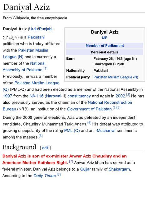 Daniyal Aziz Is Son Of American Mother Kathleen Wikipedia Confirm