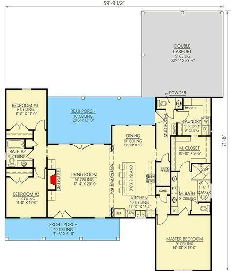 Plan 56447sm Exclusive Modern Farmhouse With Expansive Rear Porch And Double Carport Carport Plans Double Carport House With Porch