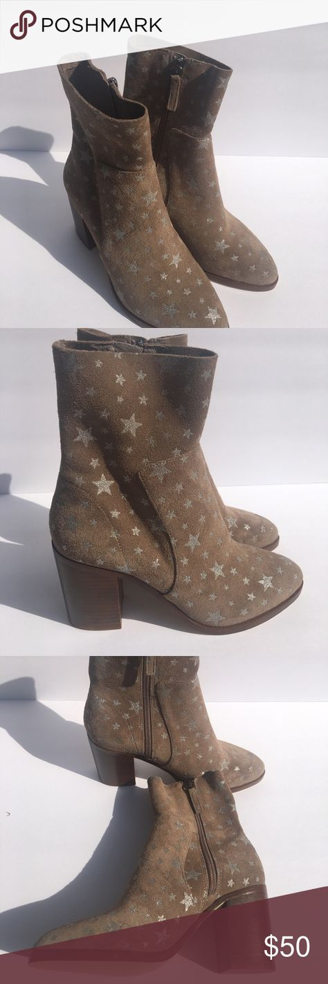 """c0214fe4d4a BRAND NEW Steve Madden Boots Brand New Taupe Star Detail 3 1 2"""" Chunky"""