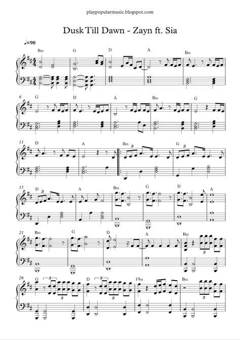 Dusk Till Dawn Zayn Ft Sia Dusk Till Dawn Free Piano Sheets