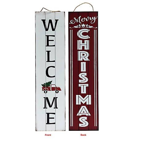 Tractor Supply Christmas Decor 2020 TX USA Corporation Merry Christmas Reversible Porch Sign M21749 at