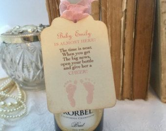 Baby Shower Champagne Tags Baby Mini Wine by SeasonalDelightsBaby