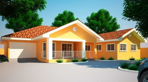 Jonat 4 Bedroom House Plan In Ghana With Images Small House Design 4 Bedroom House Designs Home Design Plans