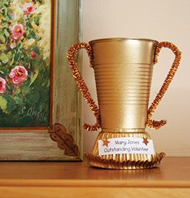 Homemade Trophy ~ Cute!   10 Quick and Easy Volunteer Gifts   PTOToday.com