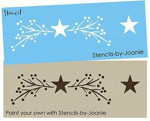 Free Primitive Star Stencil | Lg-Primitive-STENCIL-Twig-Branch-Pip-Berry-Barn-Star-Border-Wall-Art ...