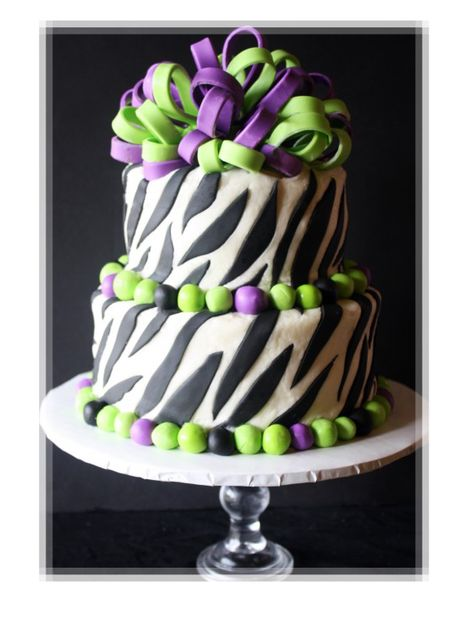 Purple And Green Zebra Striped Cake (my favorite colors  zebra stripes