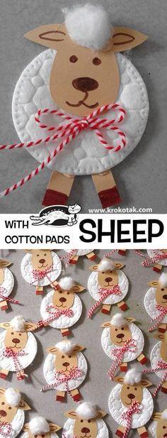 Sheep with  Cotton Pad  Eine Idee, wenn Du ein #Schaf #basteln möchtest. children activities, more than 2000 coloring pages  #EasterPresent