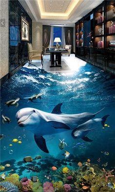 Underwater Shark Turtles 3d Floor Mural Photo Flooring Wallpaper Home Printing In 2020 Floor Murals Floor Wallpaper 3d Floor Art