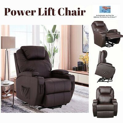 Advertisement Brown Manual Power Lift Recliner Chair Elderly