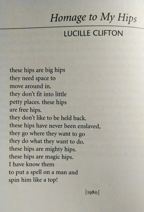 homage to my hips by lucille clifton
