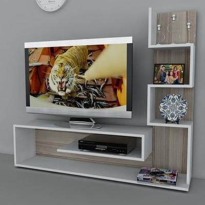 Metehan Meuble TV Mural Blance - Cordoba 150x30x120cm Cordoba