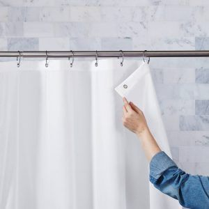 Fabric Shower Curtain Liner With Suction Cups On Sides Fabric