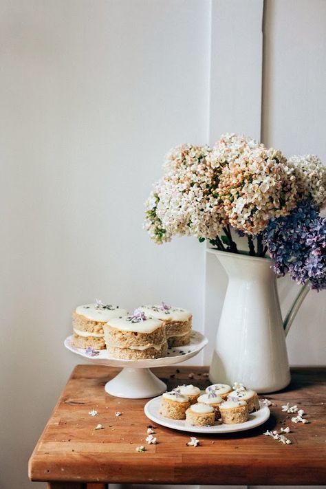 Lemon, lavender and earl grey mini cakes.