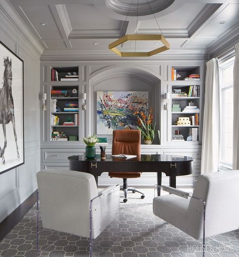50 Home Offices That Maximize Creativity This grand home office beautifully blends old and new with traditional mouldings and an impressive desk, juxtaposed by a pair of modern, Lucite-framed chairs. Furniture Design, Home Office Design, Home Office Decor, Office Interior Design, Interior Design, Home Decor, House Interior, Office Furniture Design