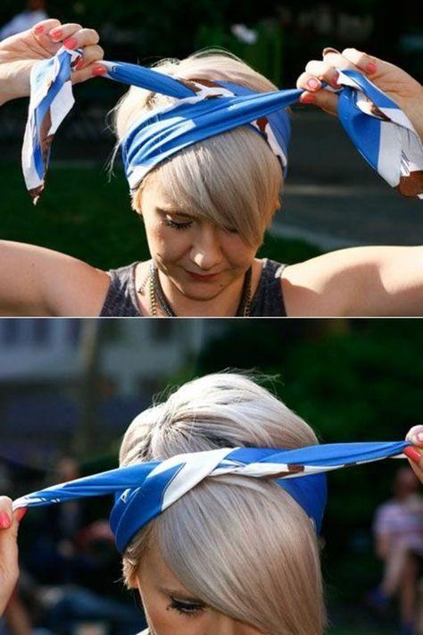 Kurze Glatte Blonde Haare Bandana Binden Headbands For Short Hair Bandana Hairstyles Short Scarf Hairstyles