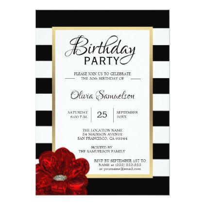 Elegant Black White Red Rose Birthday Party Invitation Zazzle