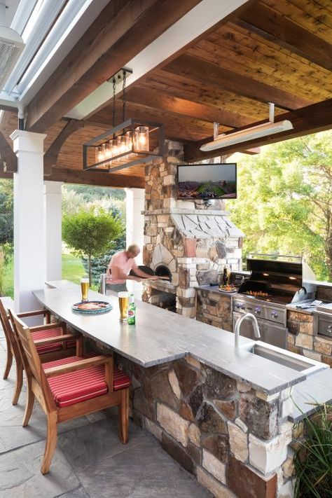 A beer and a pizza, cooked up in this home& outdoor pizza oven, are just th. - Patio P. - A beer and a pizza, cooked up in this home& outdoor pizza oven, are just th… – Patio Proj - Rustic Outdoor Kitchens, Outdoor Kitchen Patio, Outdoor Kitchen Design, Kitchen Decor, Outdoor Living, Back Patio Kitchen Ideas, Outdoor Cooking Area, Outdoor Oven, Outdoor Pizza Ovens