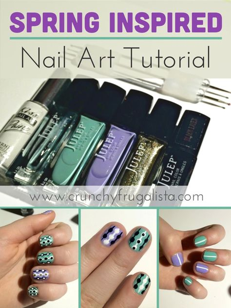 An adorable fresh look for spring. Spring nail tutorial that's cute and easy http://www.crunchyfrugalista.com/spring-inspired-nail-tutorials/