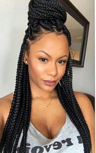 Med Size Box Braids Hairbraidingstyles In 2019 Box