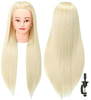 Amazon Com Futai 30 Mannequin Head With Hair Doll Heads With Perfect Curling With Stand Blonde Beauty Hair Mannequin Hair Implants Mannequin Heads