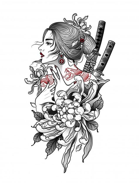 Geisha Tattoos, Geisha Tattoo Design, Tattoo Design Drawings, Tattoo Sleeve Designs, Tattoo Sketches, Irezumi Tattoos, Dragon Tattoo Designs, Japanese Tattoo Women, Japanese Tattoo Art