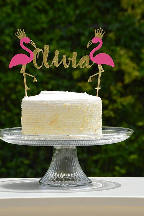 Thank you for stopping by Lucas & Me Creations! We look forward to working with you!  This listing is for 1 Personalized Flamingo Cake Topper (One Sided) Topper is made out of Glitter Cardstock (Glitter Cardstock we use is high quality and does not shed)  If you would like this