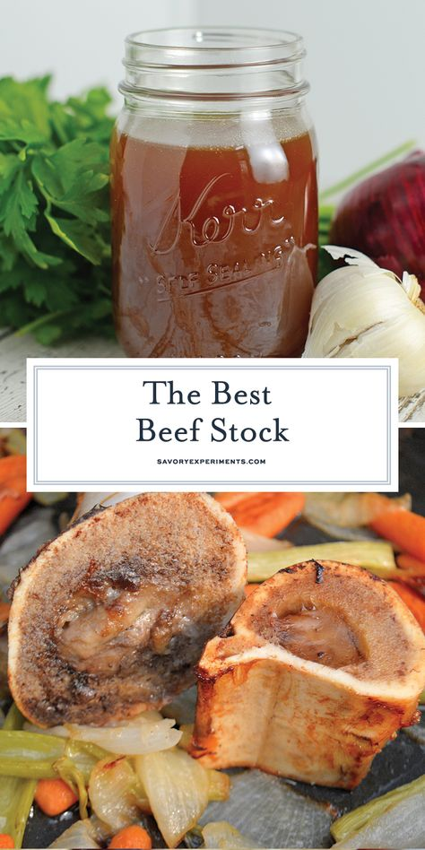 Homemade Beef Stock Recipe The Best Beef Stock recipe made with herbs and vegetables. Freezer friendly and full of flavor, you'll never buy store bought again! Beef Stock Recipes, Best Beef Recipes, Meat Recipes, Cooker Recipes, Beef Broth Soup Recipes, Soup Broth, Recipies, Favorite Recipes, Beef Soup Bones