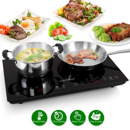 Nutrichef Pkstind48 Electric Induction Cooktop Digital Kitchen Countertop Hot Plate Burners With Adjustable Temperature Control Ceramic Glass Dual Zone Induction Cooktop Countertop Hot Plate Cooktop
