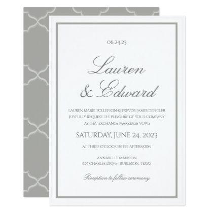 Simple Elegance Wedding Invitation Gray Border Zazzle Com Wedding Invitations Fun Wedding Invitations Simple Wedding Invitations