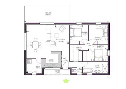 Plan De Maison Moderne Helios Plan Maison Plan Maison 100m2 Plan Maison 120m2
