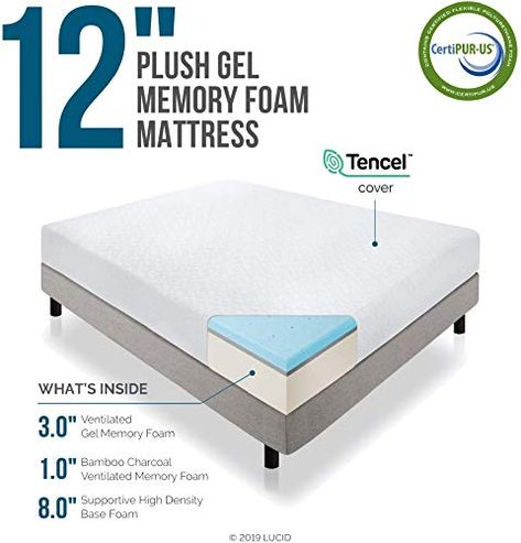 Amazing Offer On Lucid 12 Inch Gel Memory Foam Mattress Triple Layer 4 Pound Density Ventilated Gel Foam Certipur Us Certified 10 Year Warranty Cal Ki In 2020 Memory