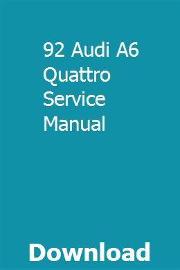92 Audi A6 Quattro Service Manual Repair Manuals Chilton Repair Manual Owners Manuals