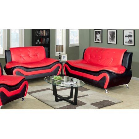3 Piece Living Room Set Living Room Sofa Set 3 Piece Sofa Loveseat Chair Black Red Color Faux Leather Upholstery Material Walmart Com In 2021 Living Room Sets Living Room Leather 3 Piece Living Room Set 3 piece sofa set cheap