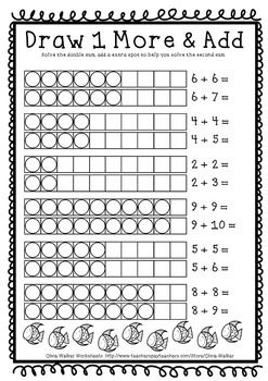 Double Plus One Near Doubles Grade One Math Strategy Printables