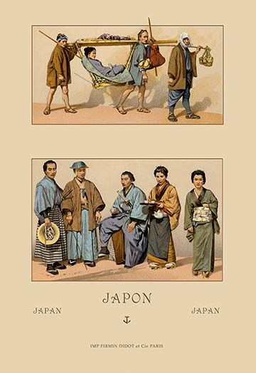 Japanese Civil Costumes And Transportation By Auguste Racinet Art Print 9780587113263 Auguste Japanese Poster Japanese Poster Design Vintage Advertisement