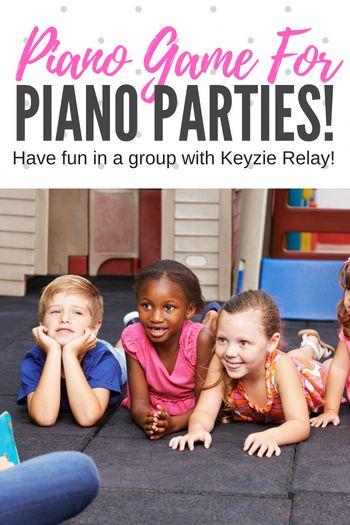 Keyzie Relay; A easy-to-play Group Piano Lesson Game That Will Get Your Students Up and Moving - perfect for piano parties, group lessons and more! #TeachPianoToday #PianoLessons #PianoGame #GroupPiano #PianoParty