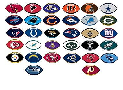 NFL Licensed Stickers Football Shape Complete Set of all 32 Teams