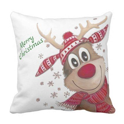 Merry Christmas Rudolph Painted Reindeer Throw Pillow Zazzle Com