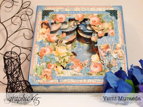 Precious Memories shadowbox by Yumi! So many gorgeous florals and details! #graphic45