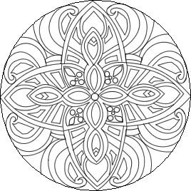 Mandala Coloring Page Flower Design Element For Adult Color Book ... | 268x268