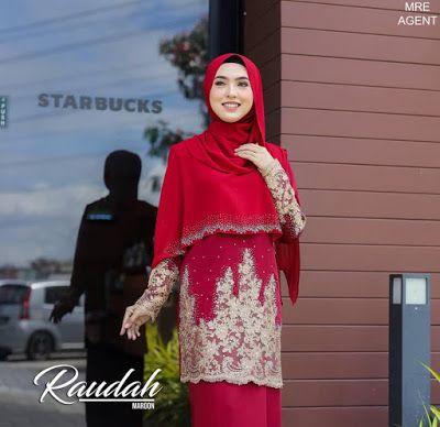 Set Sedondon Nikah  Baju Kurung Moden Raudhah Baju Kurung Lace Yang Sopan dengan Cape
