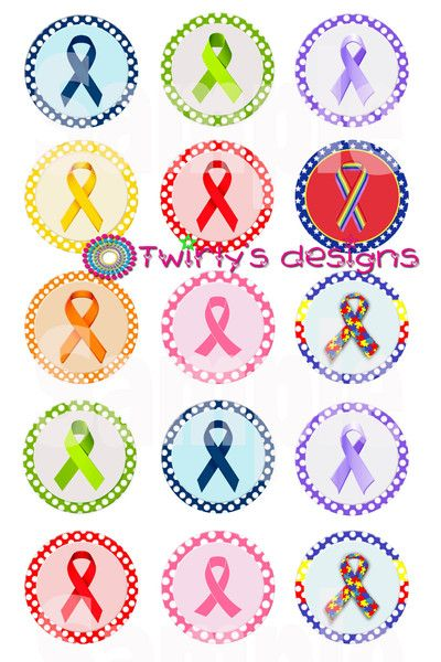 Awareness Ribbons Bottle Cap Images Emailed