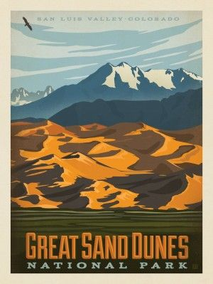 Grand Sand Dunes National Park Colorado Vintage Style Poster By Anderson Design Group Vintage National Park Posters American National Parks National Park Posters
