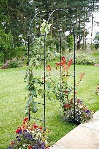 Garden Mile Large 2 4m Black Metal Garden Arch Heavy Duty Strong