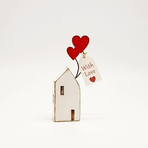 """New in the shop today is this little  Scandinavian style house with heart balloons and """"With Love"""" tag. Perfect gift for Mother's day, a loved ones birthday or anniversary gift. #littlewoodenhouse #hearts #heartballoons #withlove #Scandinavian #folkart #mothersday #mothersdaygift #anniversarygift #birthdaygift #valentinesdaygift #bspoque #etsy"""