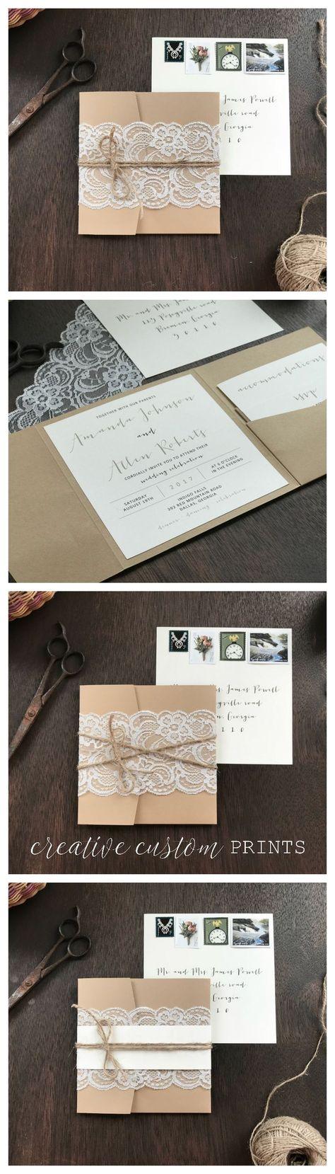 Lace Wedding Invitation Set, Rustic Wedding Invitation, Pocket Wedding Invitation, Elegant Wedding Invitation, Romantic Wedding Invitation